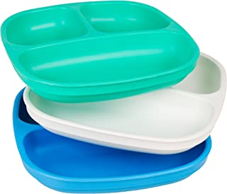 product image for Re-Play Made in USA 3pk Divided Plates with Deep Sides for Toddler, Child Feeding - Aqua, White, Sky Blue (Cool Breeze)