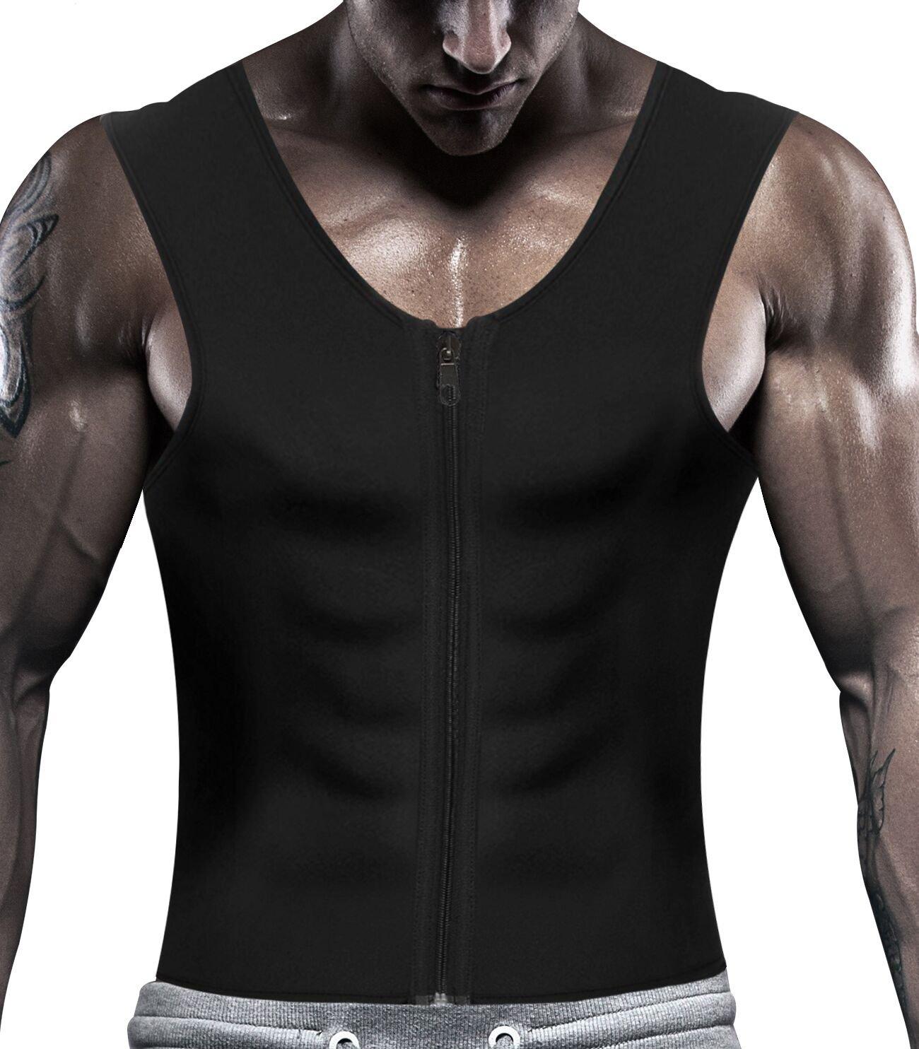 IFLOVE Men's Body Shaper Hot Sauna Vest Sweat Slimming Tank Top with Zipper for Weight Loss Fat Burner Neoprene S