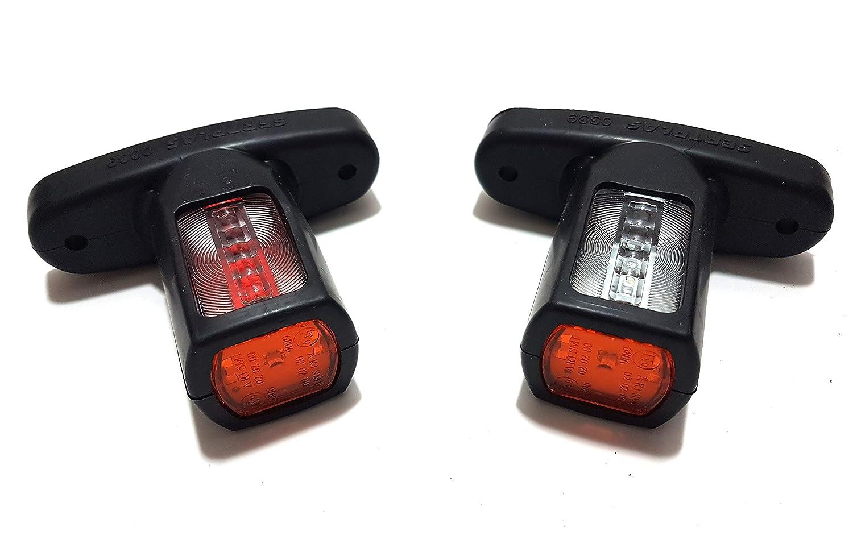 2 x 12 V 24 V LED luces de marcador lateral delanteras luces traseras de contorno corto con brazo de goma blanco naranja rojo resistente al agua E-Marked
