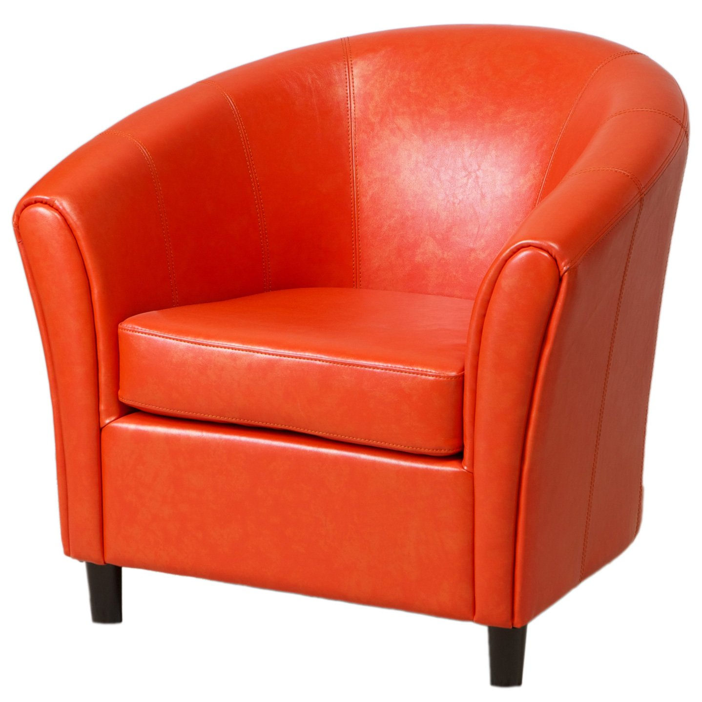 Amazon Best Selling Napoli Orange Leather Club Chair Kitchen
