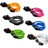 Bike Lock GoFriend High Security 5 Digit Resettable Combination Coiling Cable Lock Best for Bicycle Outdoors, 1.2mx12mm