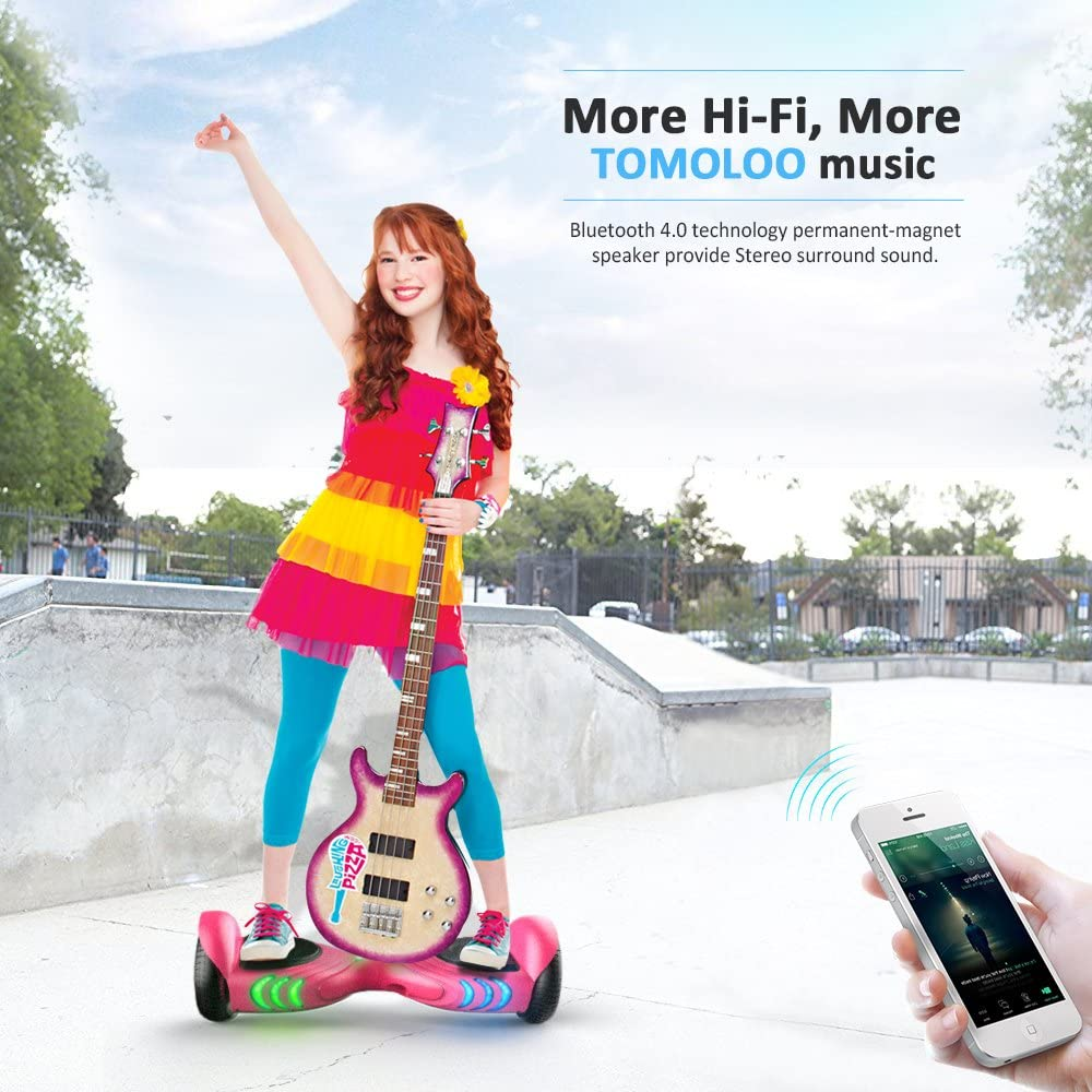 TOMOLOO Hoverboard with Bluetooth Speaker and LED Lights Self-Balancing Scooter - 3