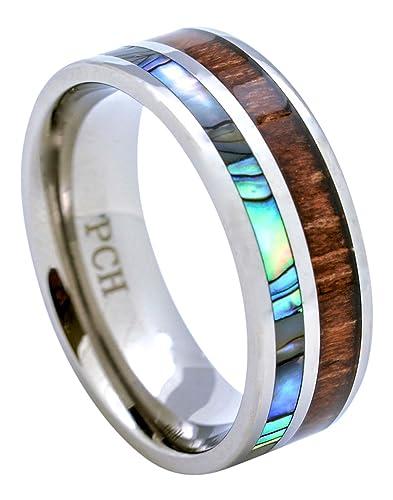 Amazoncom PCH Jewelers Titanium Hawaiian Koa Wood Abalone Inlay