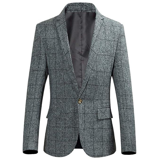 Longra-Uomo Casual One Button Elegante Vestito di Affari Cappotto Giacca  Stampa a Quadri Blazer Slim Fit Giacca da Uomo a Maniche Lunghe con  Risvolto  ... c633ee76fea