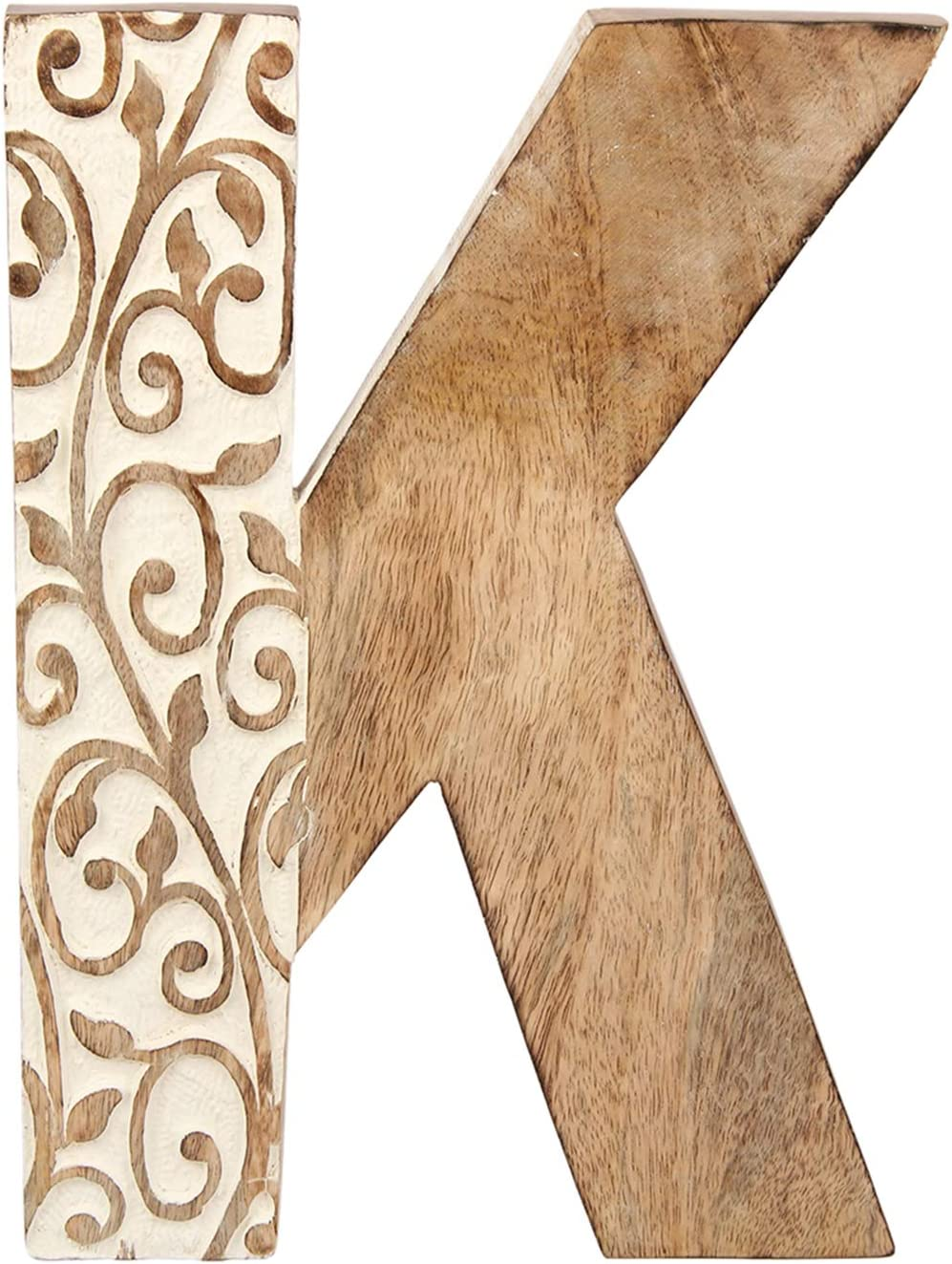 Aheli Wooden Floral Carved Home Wall Decor Sign Alphabet Letter 'K' Bollywood Wedding Parties Decorations