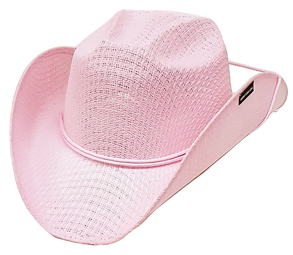 ecfe3aa8d8d32b Modestone Girl's Straw Cowboy Hat Chinstring Pink: Amazon.co.uk: Clothing