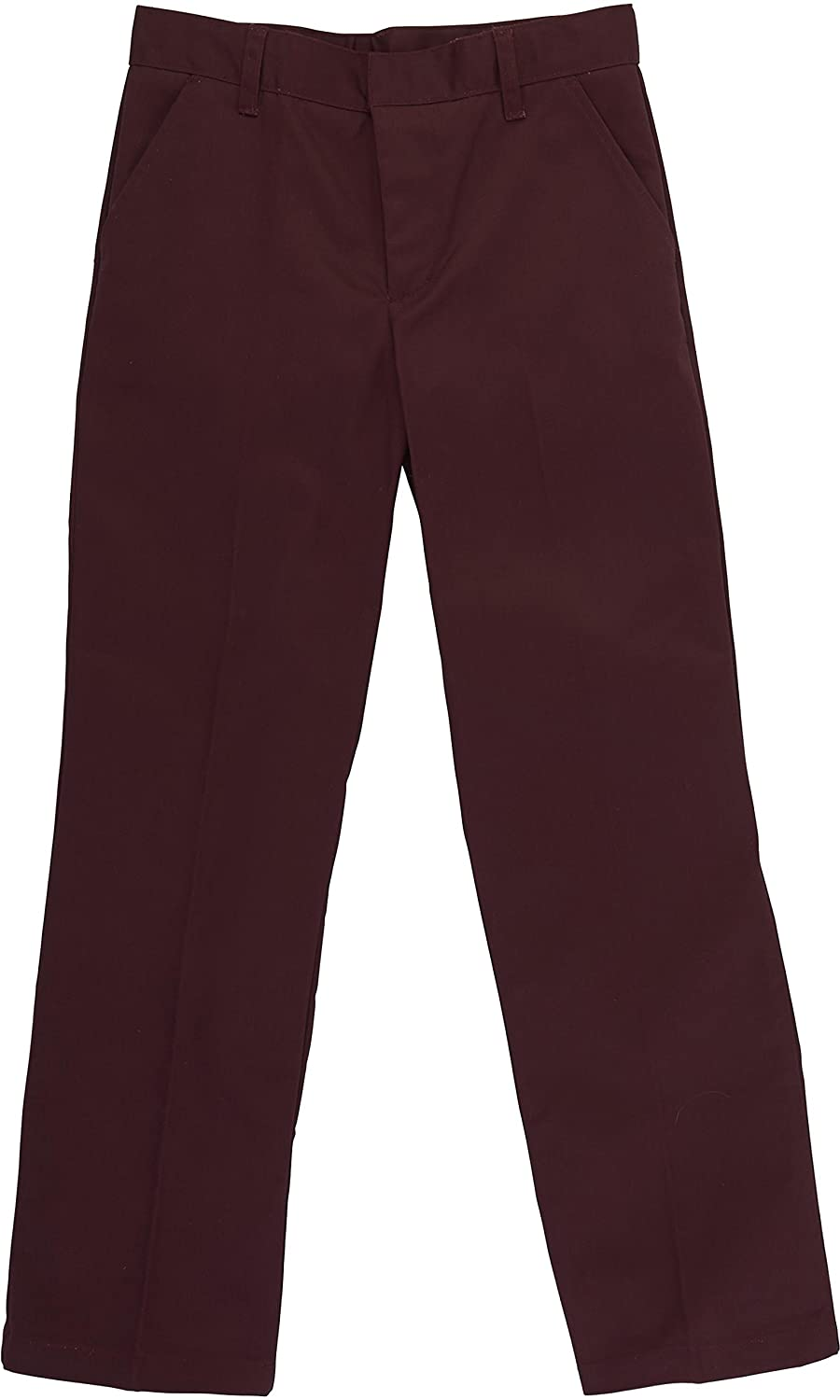 Burgundy 16 Husky French Toast School Uniform Boys Adjustable Waist Flat Front Workwear Finish Double Knee Pants