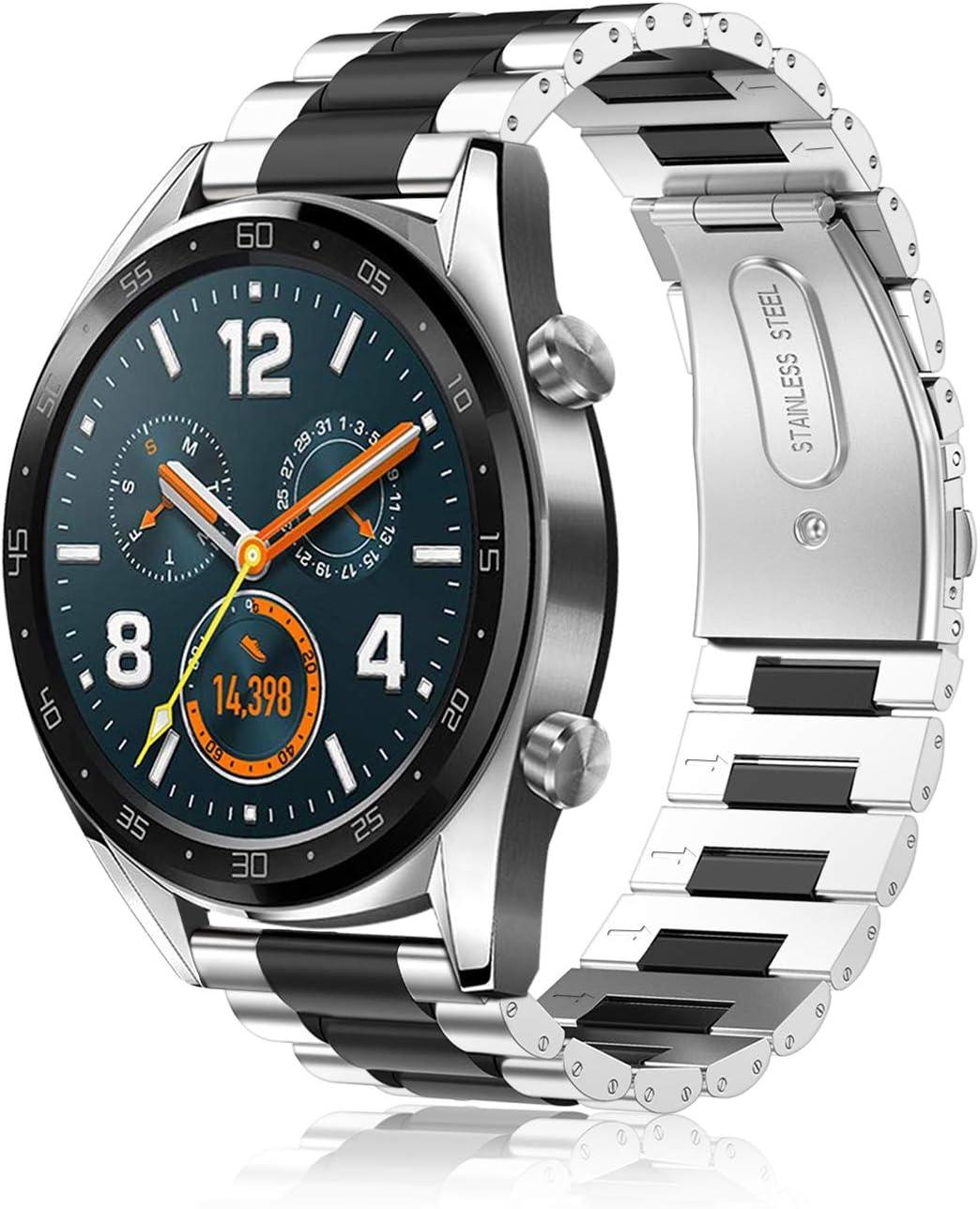 Fintie Correa Compatible con Huawei Watch GT 2 / Huawei Watch GT 46mm Sport/Classic/Active/Elite - Pulsera de Repuesto de Acero Inoxidable Banda Ajustable de Metal