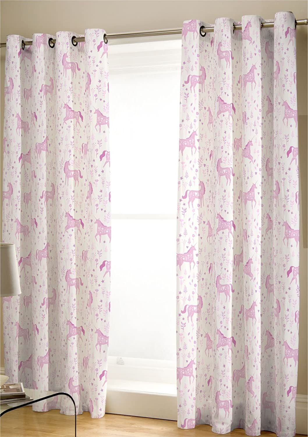 Catherine Lansfield Folk Unicorn Easy Care Eyelet Curtains Pink, 66x72 Inch Turner Bianca BD/45562/W/E6672/PK