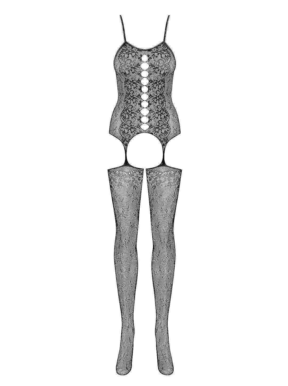 Obsessive reizvoller Dessous-Body Bodystocking als reizvolle Kombination aus zartem Top und Strümpfen in toller Geschenkbox