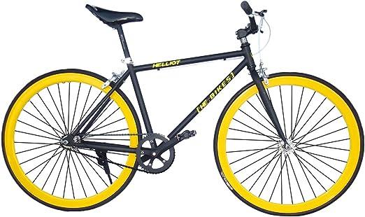 Helliot Bikes Fixie Tribeca H15 Bicicleta Urbana, Unisex Adulto, Negro/Amarillo, Talla Única: Amazon.es: Deportes y aire libre