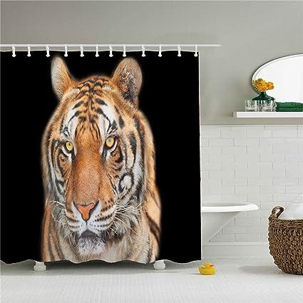 Plastic Animal Tiger Print Shower Curtain Mildew Resistant Waterproof Water Repellent And Antibacterial 66x72