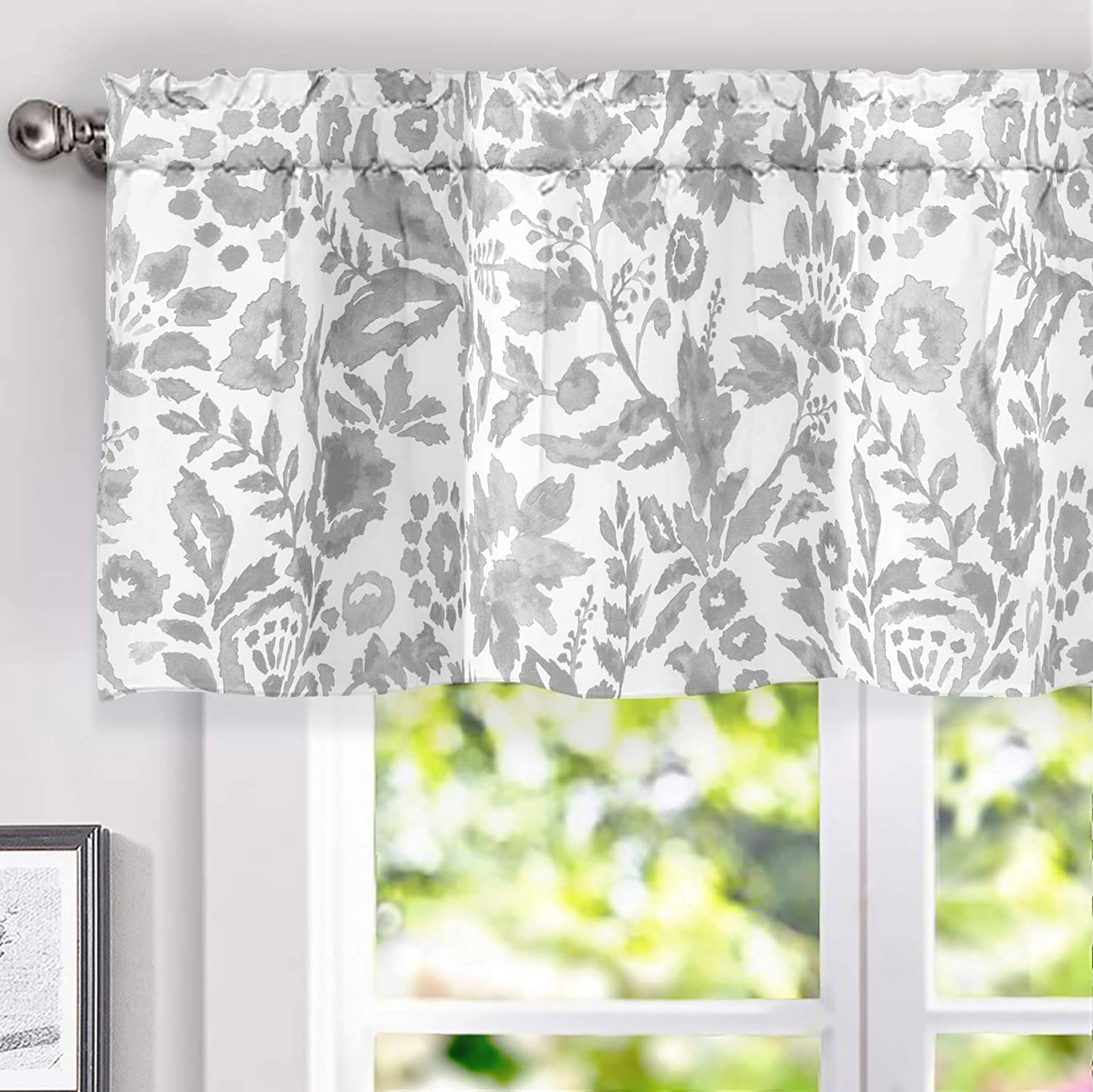 """DriftAway Julia Watercolor Blooming Flower/Floral Lined Thermal Insulated Energy Saving Window Curtain Valance for Living Room/Bedroom/Kitchen, 2 Layer, Rod Pocket, 52""""x18""""+2''Header (Gray)"""