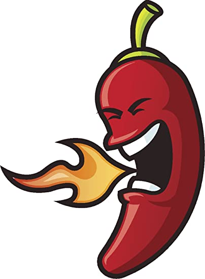 "Divine Designs Red Hot Chili Pepper with Fire Breath Cartoon Vinyl Decal Sticker (12"" Tall)"