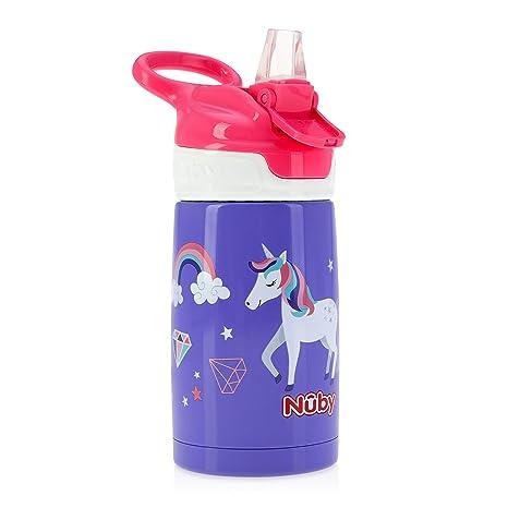 de azul mate Nuby Sippy Cup botella de agua de acero inoxidable para ni/ños