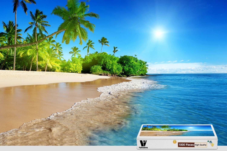 【超ポイント祭?期間限定】 pigbangbang –、29.5 Piece X 19.6インチ、木製 – Sunshine beach beach coastエメラルド – 1000 Piece B07DHC4XHP, 布屋ムラカミ:84483b7f --- a0267596.xsph.ru