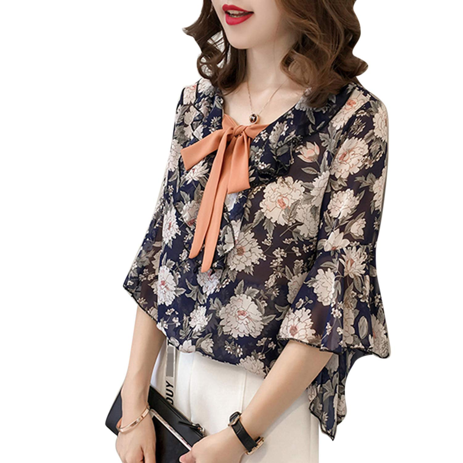 T T Store Bow Tie Ruffles Chiffon Blouses Women Floral Printed Short Sleeve Boho Summer Loose Ladies Office Blusas(Blue,M)