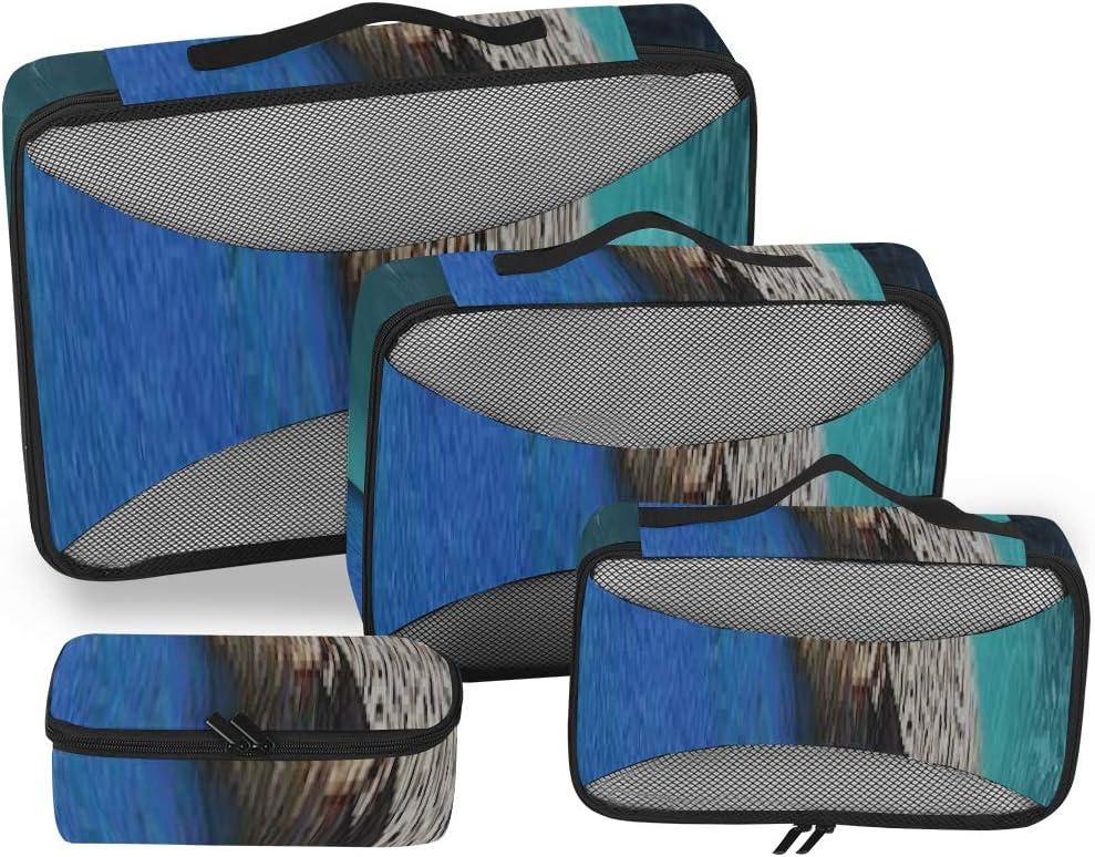 Organizador de Viaje para Mujer Hermoso par de Pavo Real Fondo de Pantalla HD BEA Classic Cubos de Embalaje Cubos de Embalaje Organizador Bolsas Organizador de Maleta de 4 Piezas Bolsa de almacenamie