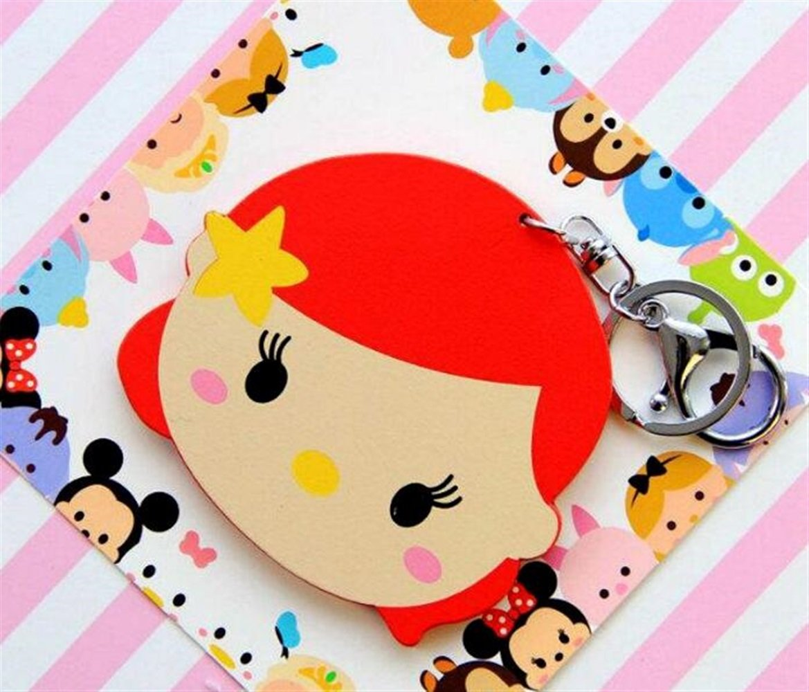 Yingealy Childrens Mirror Mini Cartoon Mermaid Pattern Small Glass Mirrors Circles for Crafts Decoration Cosmetic Accessory