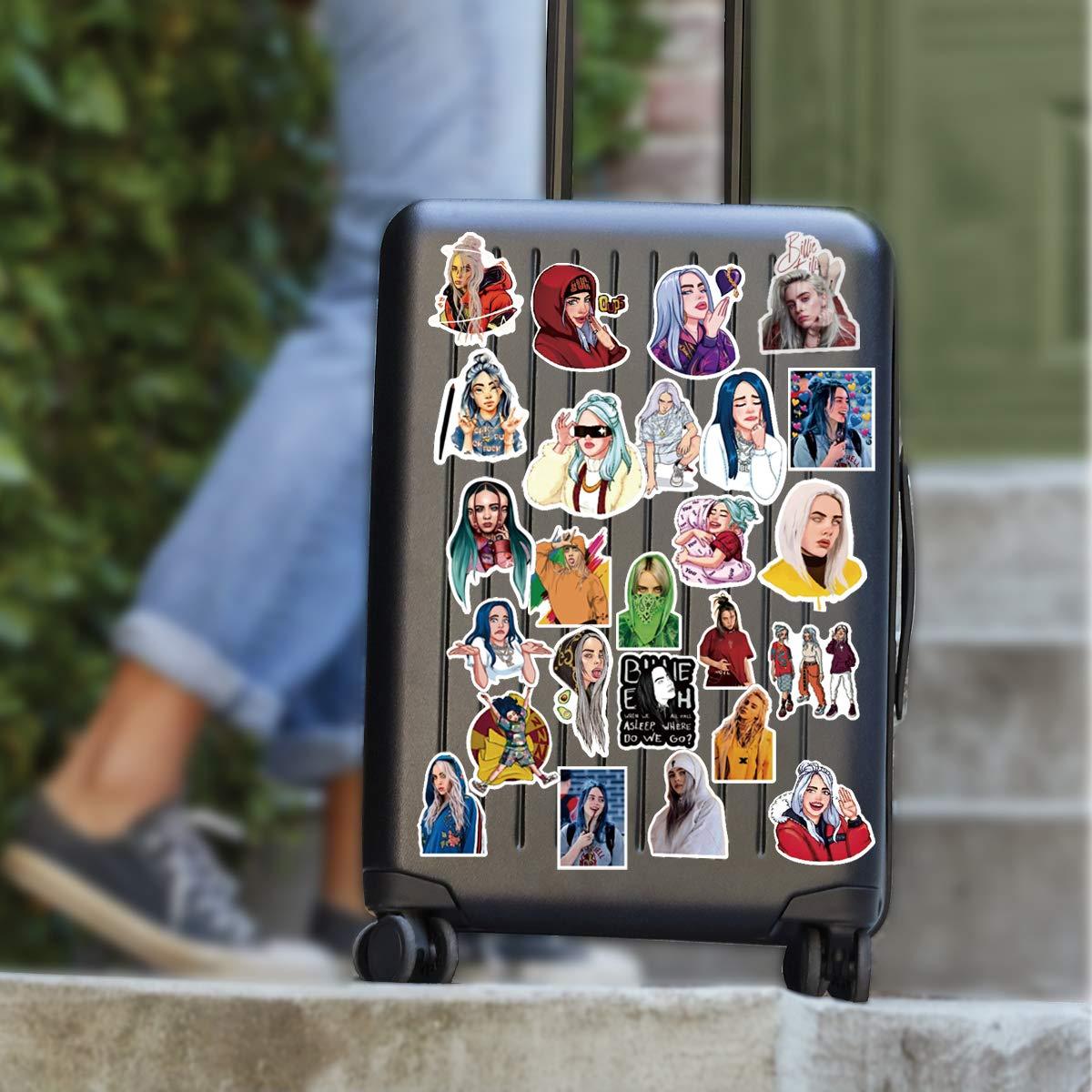 WOCOCO Singer Billie Eilish Stickers for Girls Kids Teen, Waterproof Vinyl Stickers for Laptop, Water Bottles, HydroFlask (50 Pack)