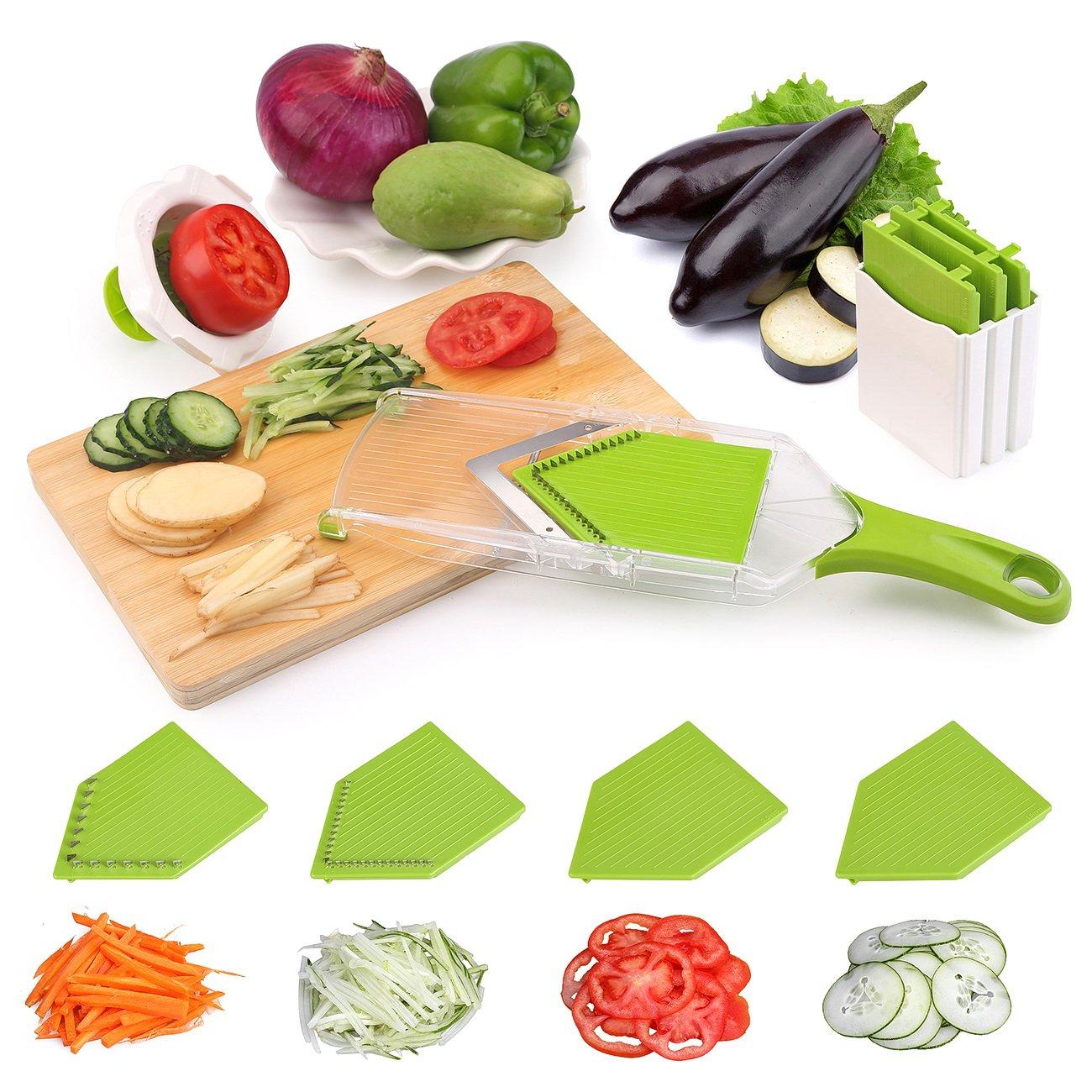 Mandoline Slicer Uten V-blade Vegetable Slicer Solid Quality 4 Sharp Blade Stainless Steel Slicer Multi-Vegetable Portable Adjustable Food Slicer Cutt