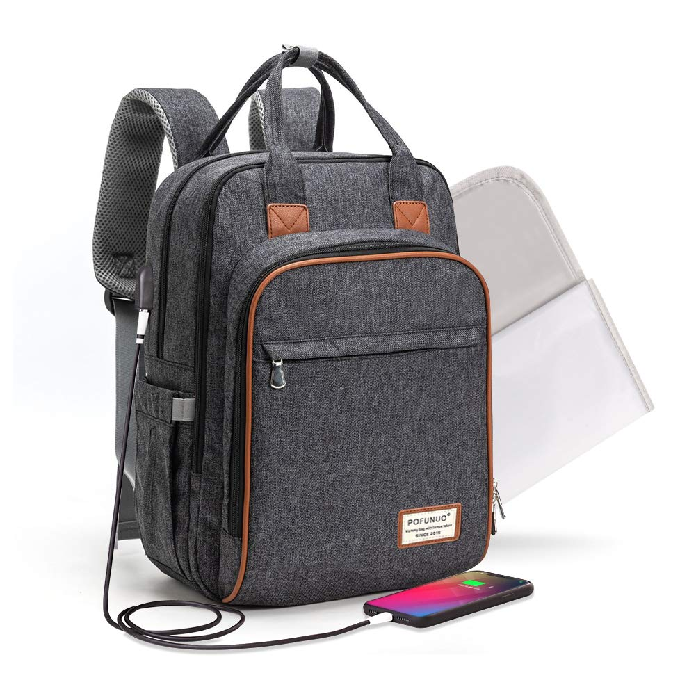 Large Capacity, Durable and Stylish Black Dongzhur Multi-Function Waterproof Nappy Bags Travel Backpack with USB Charging Port for Mom Students Men Girls Boys Baby Diaper Bag Backpack