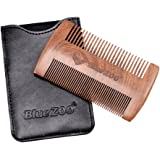 Baoblaze Sandalwood Beard Comb & Leather Case Anti-Static Pocket Comb with Fine & Coarse Teeth For Beard Hair & Mustaches-Perfect With Balms And Oils - Black