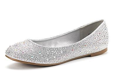 7269a5516 DREAM PAIRS Women s Sole-Shine Silver Rhinestone Ballet Flats Shoes - 5 ...