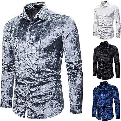 CAOQAO Camisa Hombre Personalidad de la Moda Hombres Casual ...