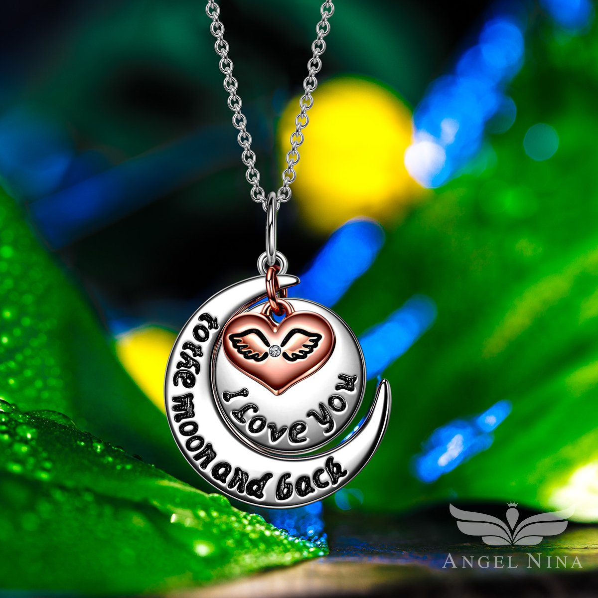ANGEL NINA Collar Grabado de Plata de ley 925 Colgante Amor Corazon Alas de Oro de Rose Plateado Joyas Regalos para Navidad San Valentín de Mujer Regalo ...