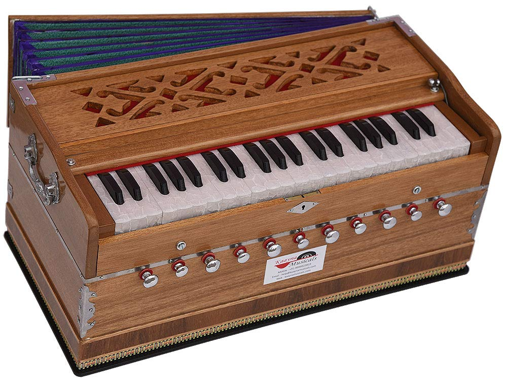 Harmonium Pro Grade By Kaayna Musicals, 11 Stop- 6 Main & 5 Drone, 3½ Octaves, Teak Colour, Regular Bellow, Coupler, Gig Bag - 440 Hz. Best for Yoga, Bhajan, Kirtan, Shruti, Mantra, Meditation, Chant