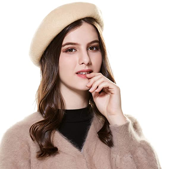 Kajeer Wool French Beret Hats Women Beige  Amazon.ca  Clothing ... 83f8a2ad2a0