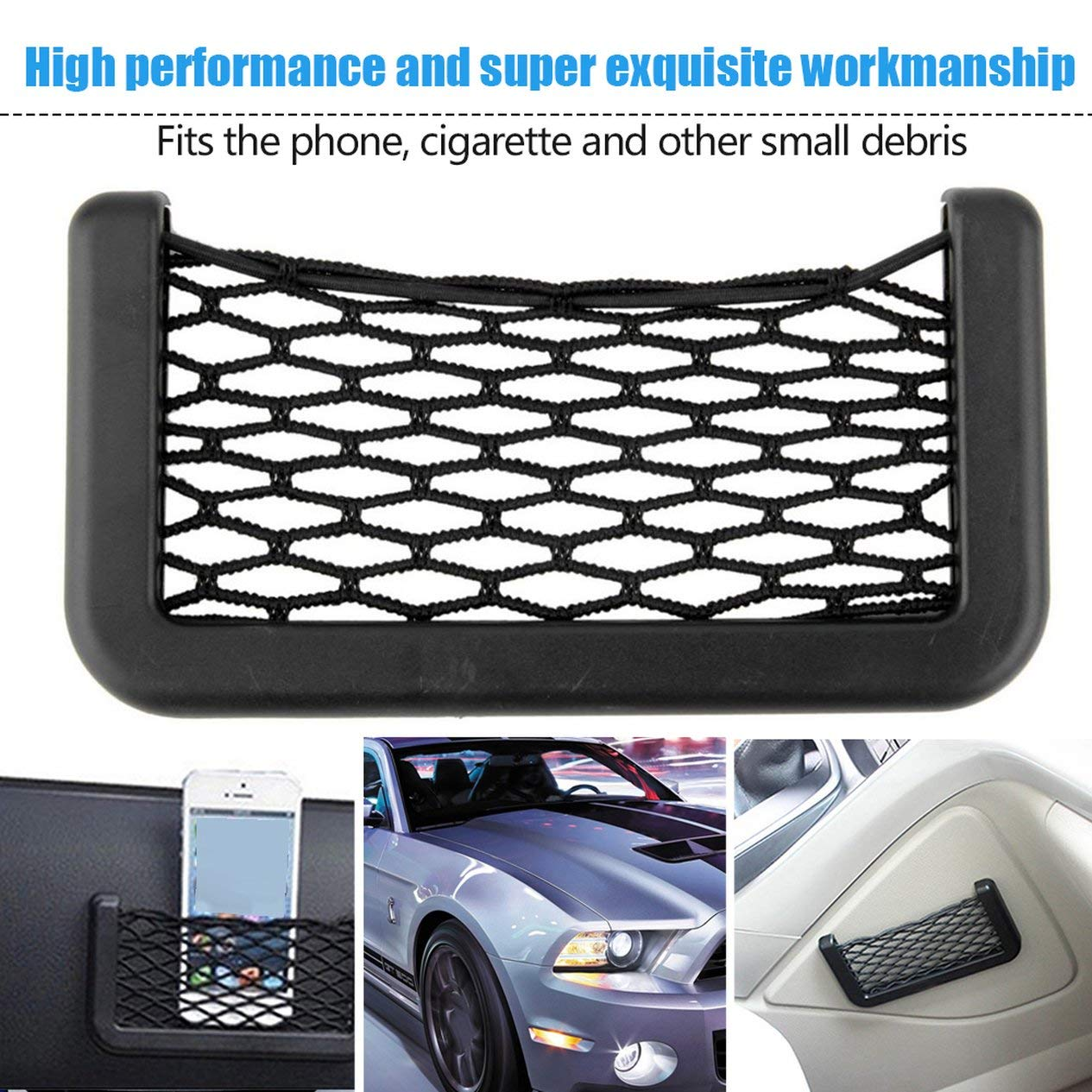 EdBerk74 Car Net Bag Organizador del coche Redes 15X8cm Bolsillos automotrices con visera adhesiva Almacenamiento del bolso del coche para herramientas Tel/éfono m/óvil