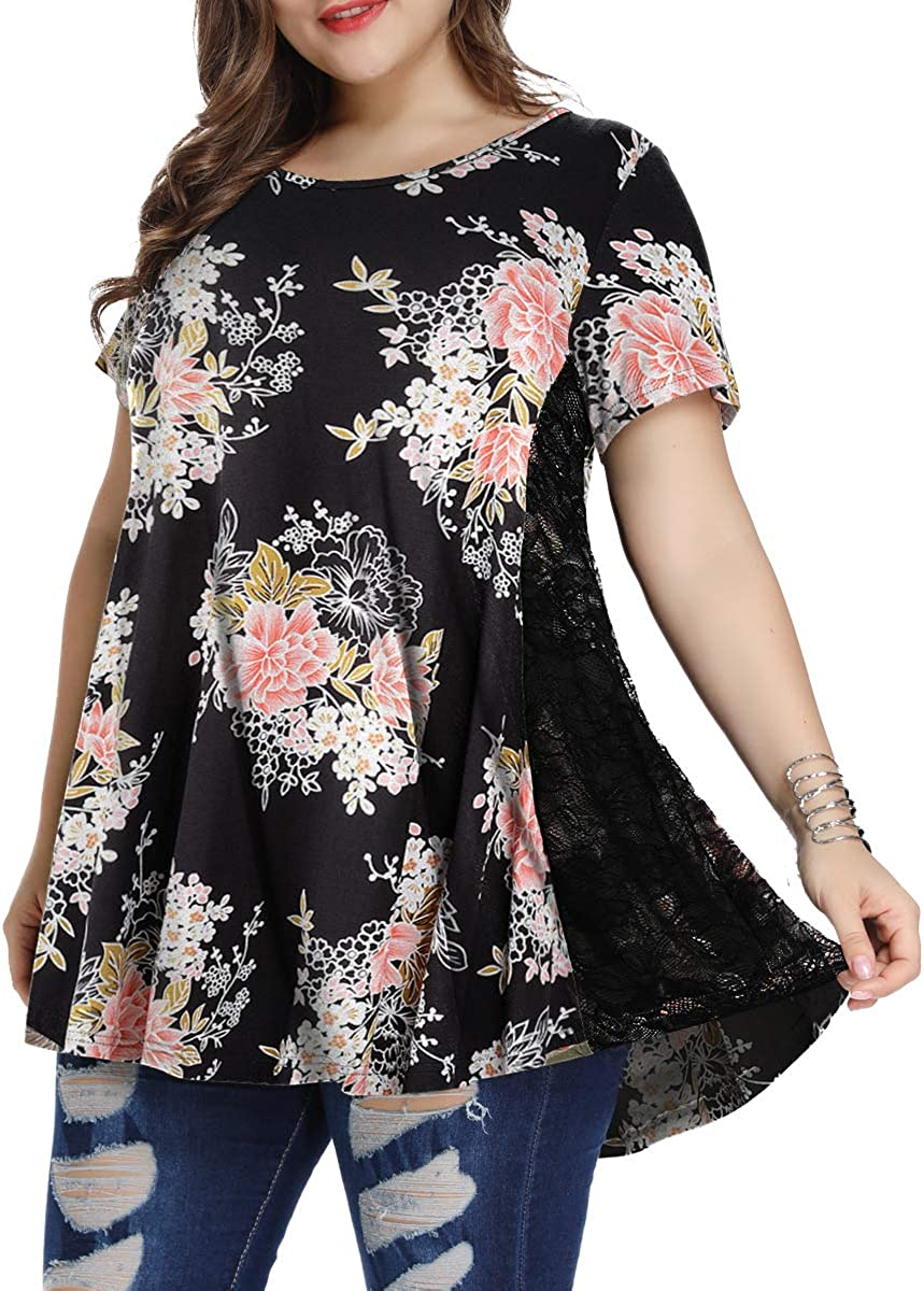 LARNOR Womens Lace Printed Loose Plus Size Short Sleeve T-Shirt Summer Top