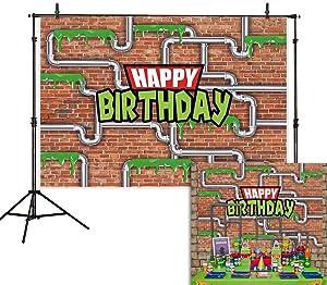 Allenjoy 7x5ft Anime Kids Birthday Party Backdrop Cartoon Red Brick Wall Water Pipe Ninja Tortoise Boy Newborn Baby Shower Kids Photography Background Decoration Photo Studio Props