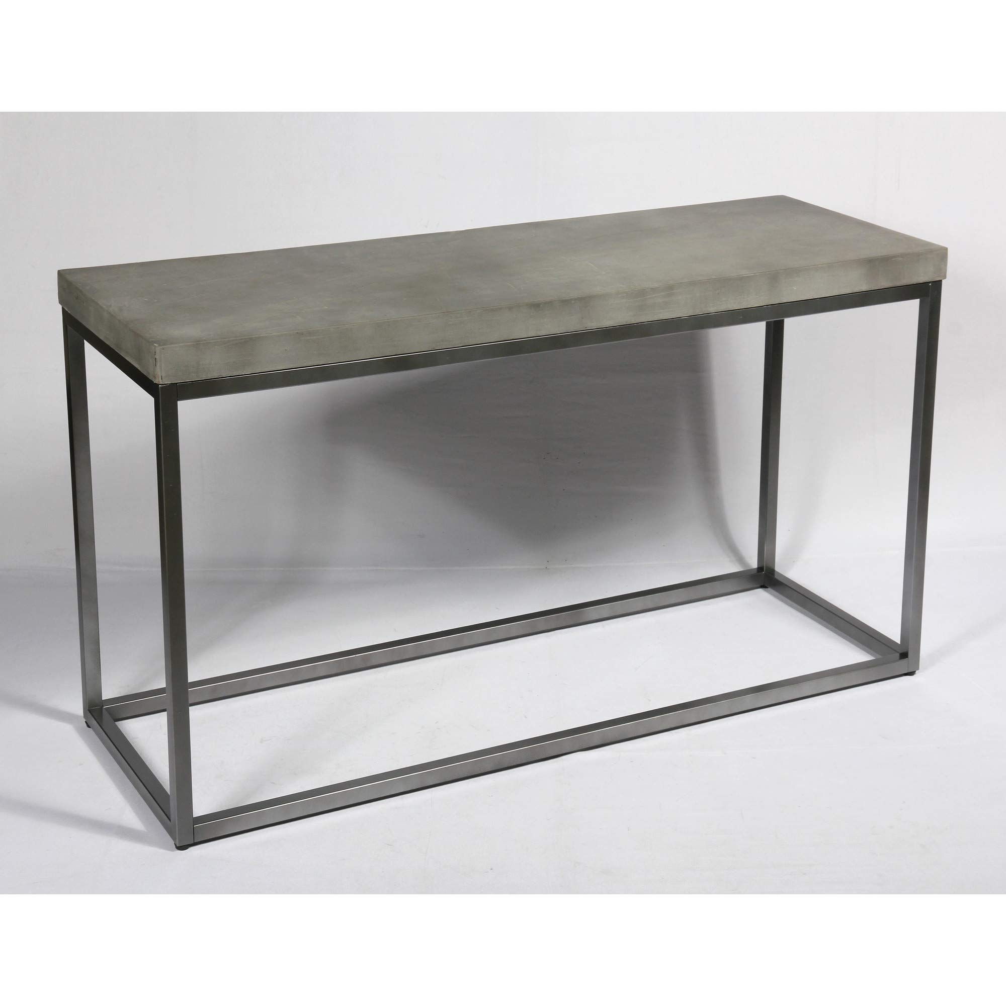 Flint Sofa Table in Slate Gray with Rustic Concrete Look Top And Modern Metal Frame, by Artum Hill by Artum Hill