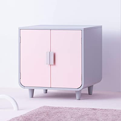 Staart - Decorative Dyad Wooden Cat Litter Box Loo Cat House and Side End Table Furniture Enclosure Cat Home Nightstand Indoor Pet Crate