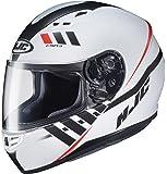 HJC Helmets MC-10SF Unisex-Adult Full-Face CS-R3 Space Helmet (White/Black, Medium)