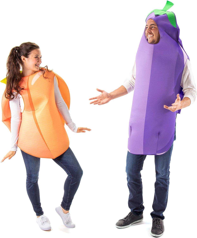 Peach + Eggplant Emoji Couples Halloween Costume - Funny Food Adult Unisex
