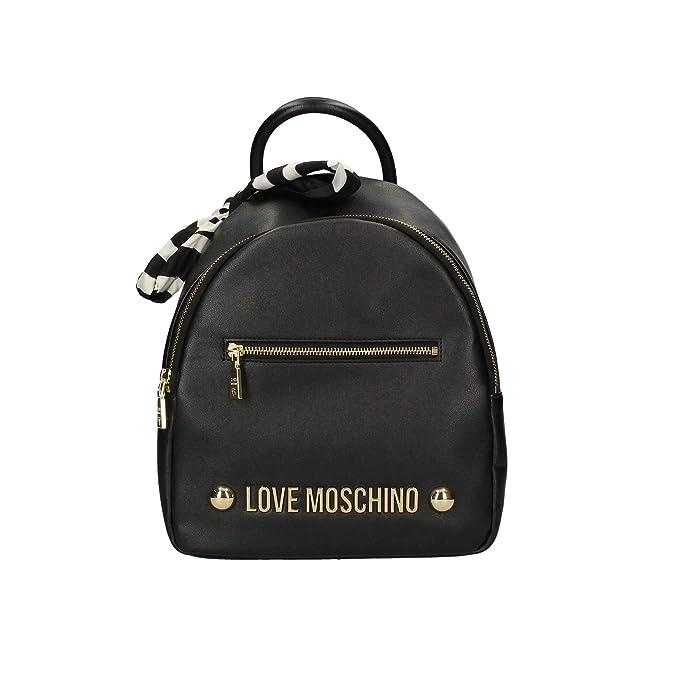 Moschino Love Zaino Nero Logo Oro E Foulard Bianco E Nero