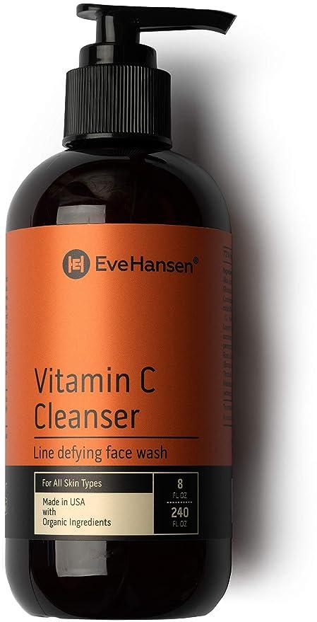 Eve Hansen Lavado de cara de vitamina C para lavado facial antiedad, 8 onzas