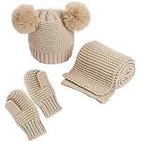 DaMohony Baby Hat sjaal handschoenen set winter gebreide pomponhoed nekwarmer wanten voor 0-3 jaar jongens meisjes