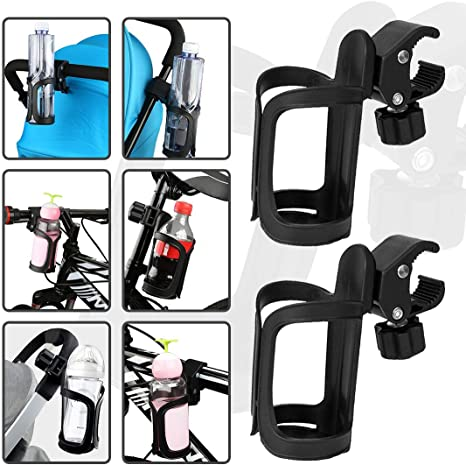 Stroller Cup Holder 2 Pack Pram Cup Holders 360 Degrees Rotation Drink Water Cup Holder Universal Drinks Holder Bike Water Bottle Cage for Bicycles Mountain Bikes Baby Strollers and Wheelchair Black