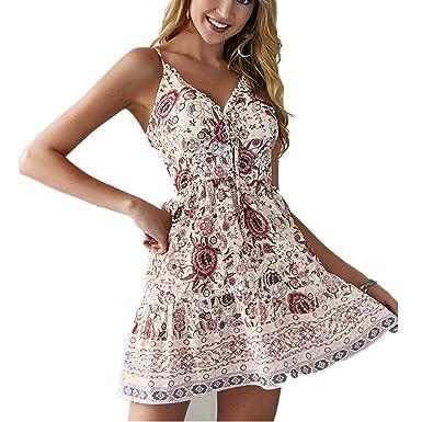 ed8df6ad13 Amazon.com: Women Sleeveless Lace Boho Dress Floral Printed Mini ...