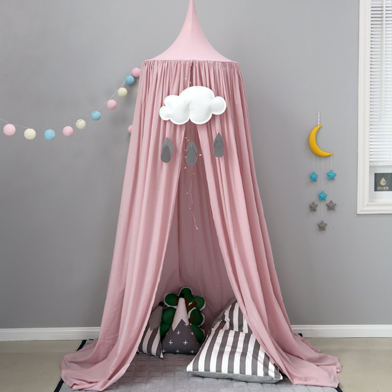 Cotton Canvas Dome Bed Canopy Kids Princess Play Tent Mosquito Net for Baby Kids Indoor Outdoor Playing Reading Height 240cm Grey Pink (Pink) CSS
