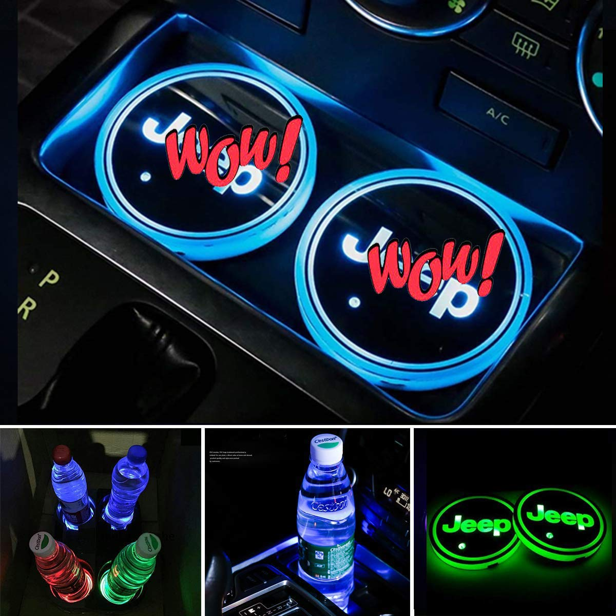 VILLSION Auto Portabevande LED Impermeabile Luce a LED 7 Colori Ricarica USB Portabevande Accessori Auto LED Decorazione per Interni Lampada Atmosfera Luce Scegli Il Logo della Tua Auto