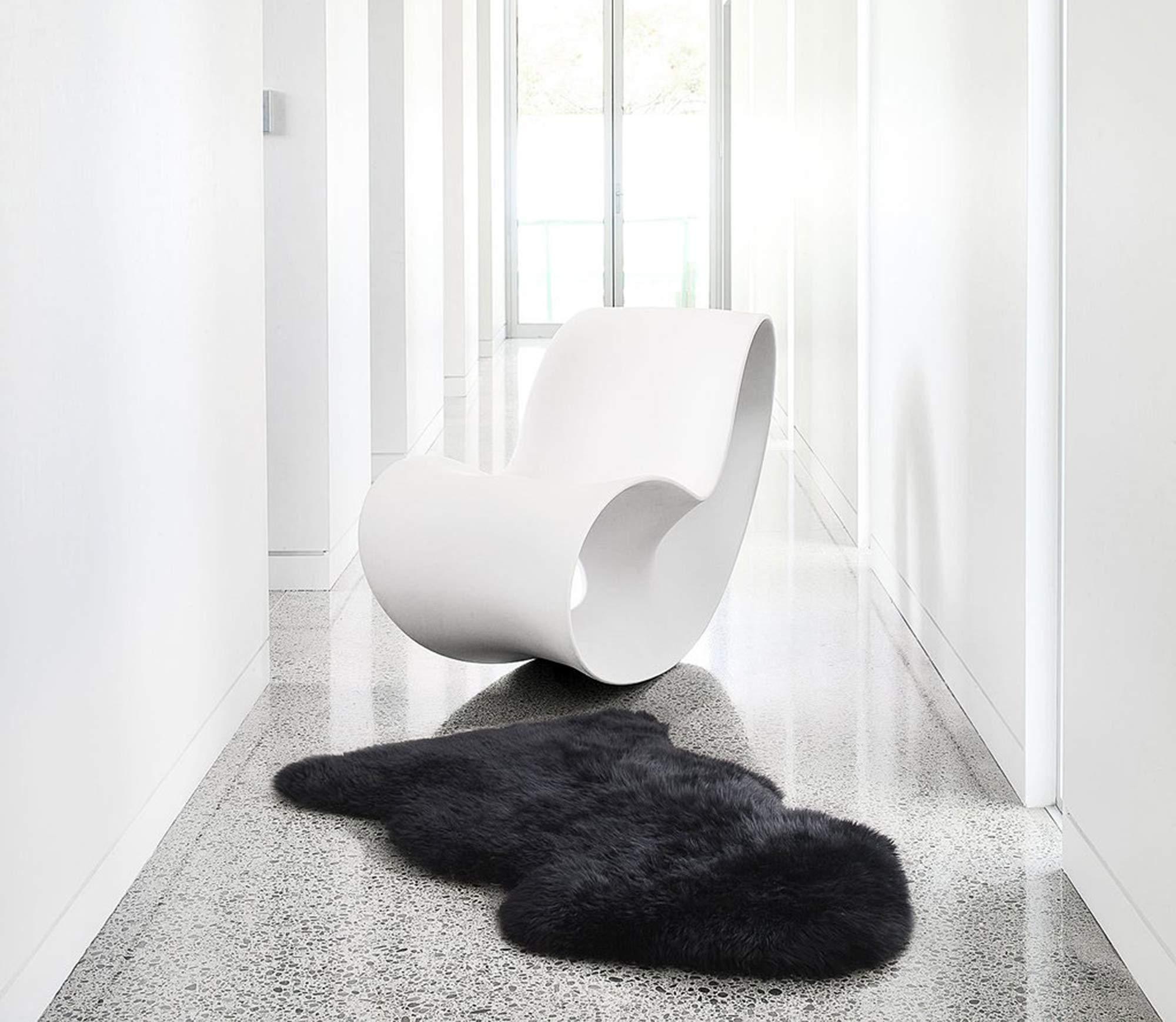 A-STAR(TM) Sheepskin Rug Single Pelt Sheep Fur 2 x 3 - Sheep Skin (Black)