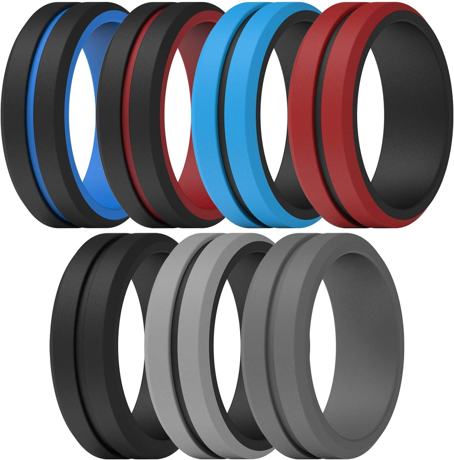 ThunderFit Silicone Wedding Rings for Men 2 Layers 4 Rings Engraved Middle Line Beveled Edge Rubber Engagement Bands 1 Ring 7 Rings