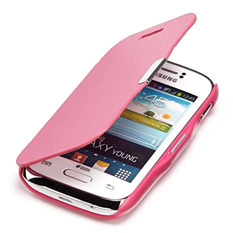youcase - Samsung Galaxy Young S6310 S6312 Slim Flip Funda de piel con tapa cartera color carcasa Case cuero fucsia rosa