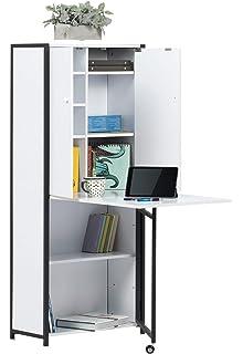 Studio Designs 13379 Craft/Multi Room Hiding Table Armoire, Black/White